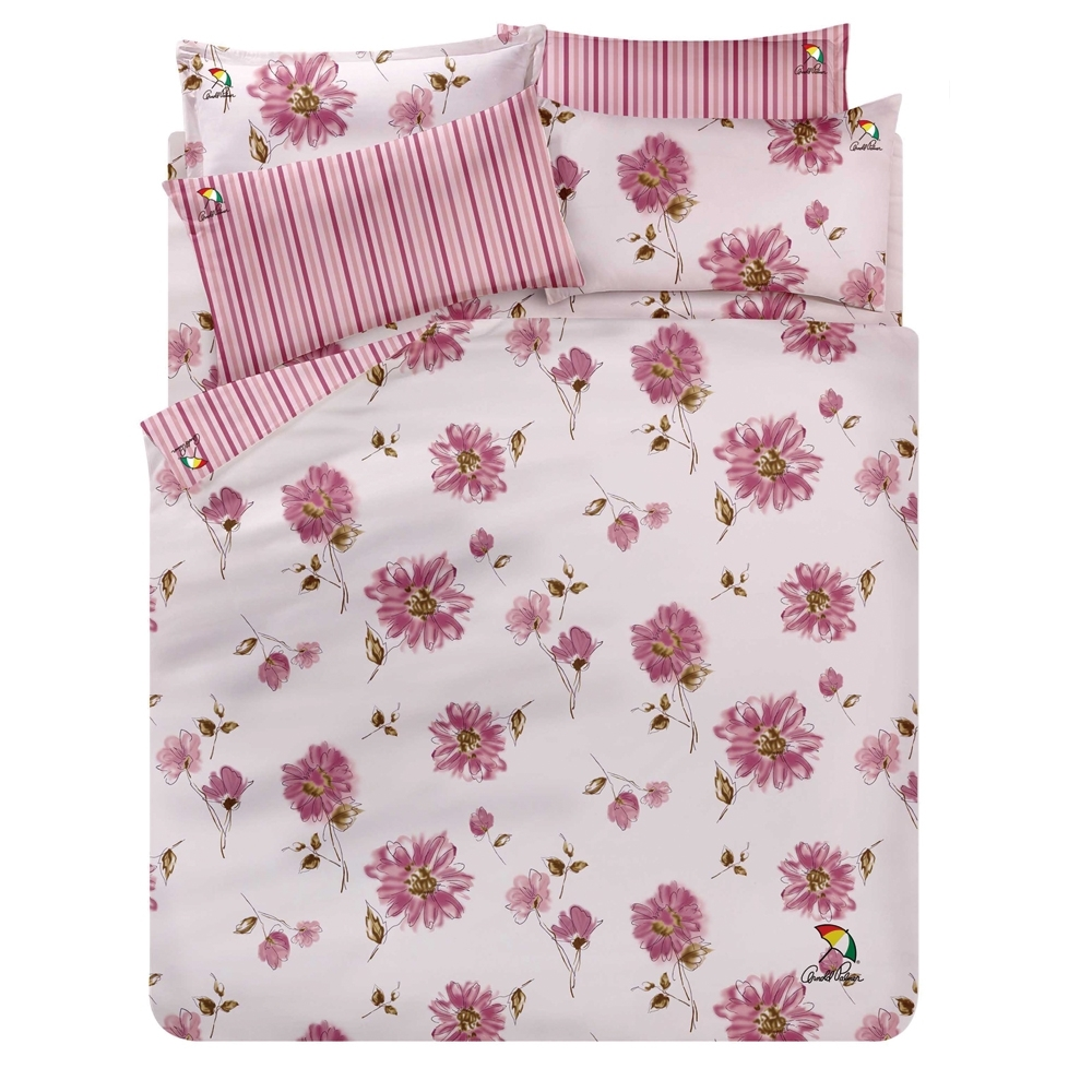 Arnold Palmer雨傘牌 愛戀紅妍-台製40紗精梳棉床包被套雙人加大四件組
