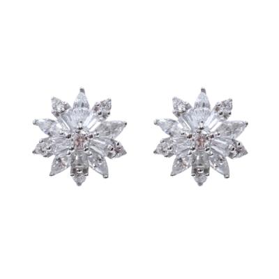 Prisme 美國時尚飾品 閃耀鑲鋯花朵造型純銀耳環