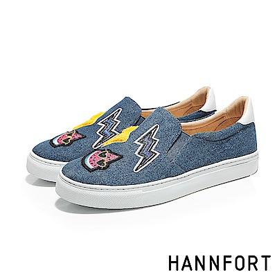 HANNFORT CAMPUS丹寧微笑徽章厚底休閒鞋-女-丹寧藍