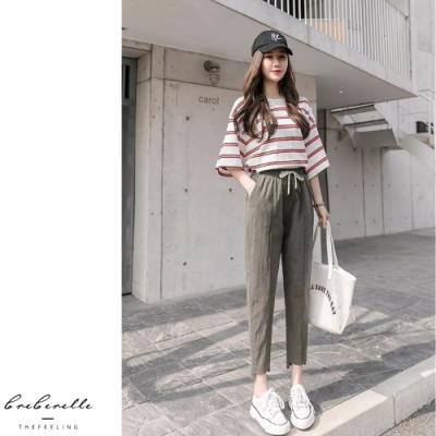 2F韓衣- 韓系鬆緊腰綁帶哈倫褲-3色(S-2XL)