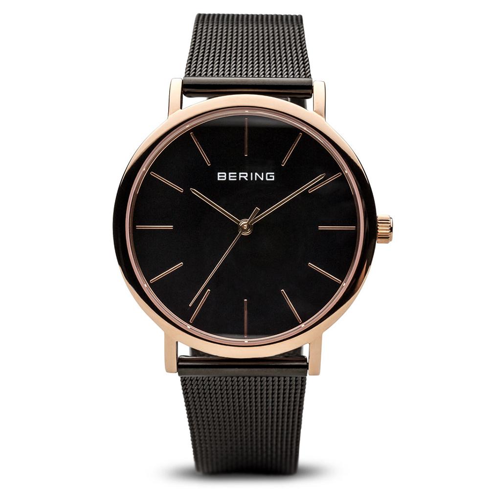 BERING丹麥精品手錶 簡約刻度米蘭錶帶系列 玫瑰金x黑36mm