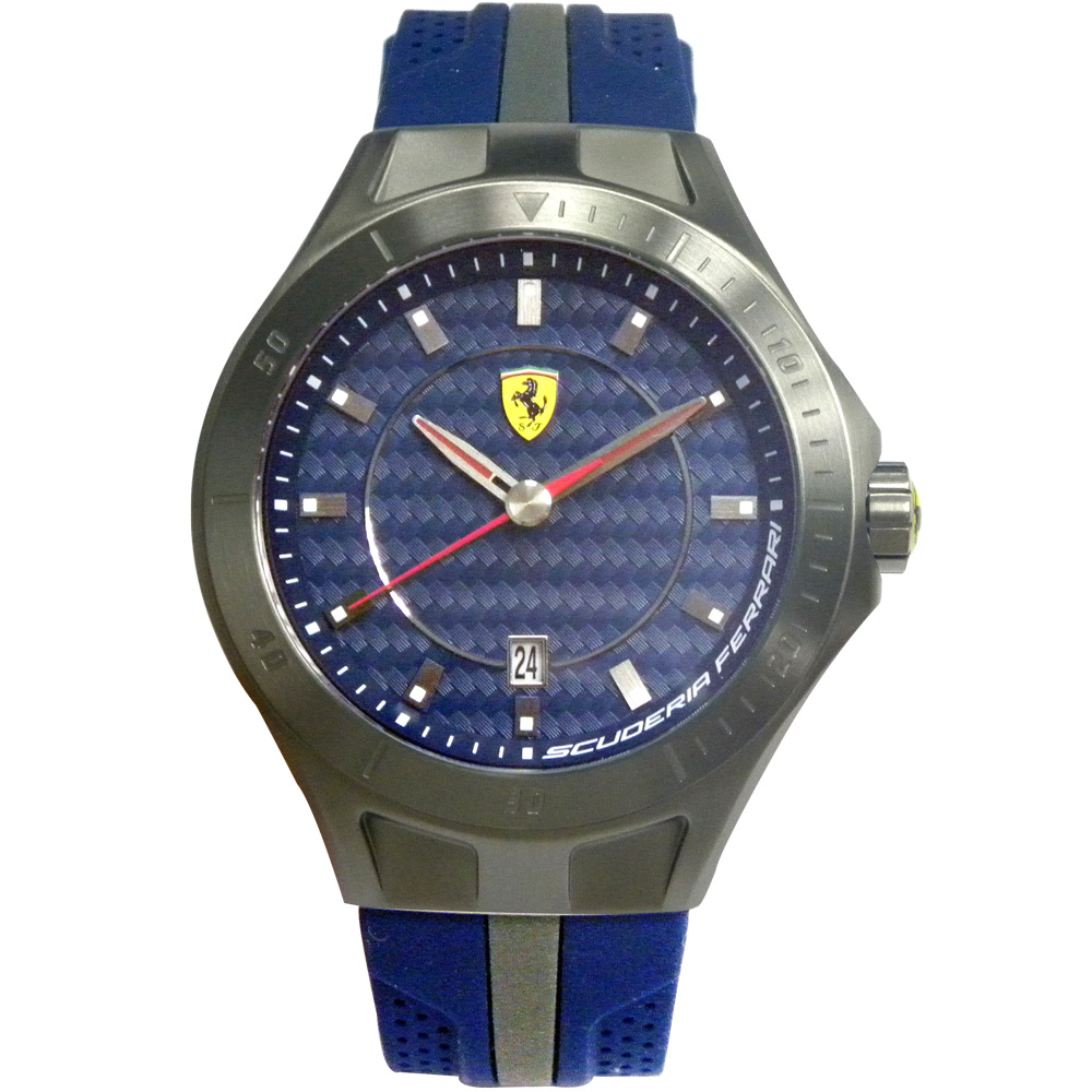 Scuderia Ferrari 法拉利 流線快感碳纖維賽車錶-藍/45mm