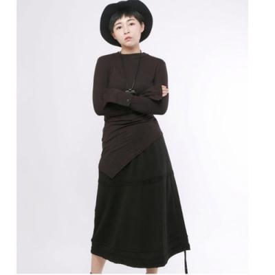 設計所在Style-暗黑系時尚長裙高腰抽繩中長版A字裙