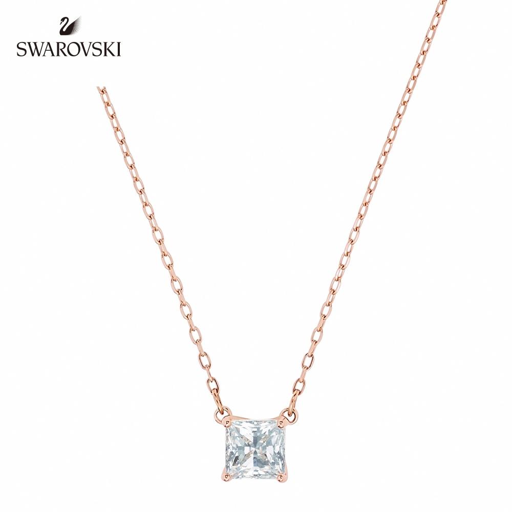 SWAROVSKI施華洛世奇 Attract 玫金色方形寶石項鏈
