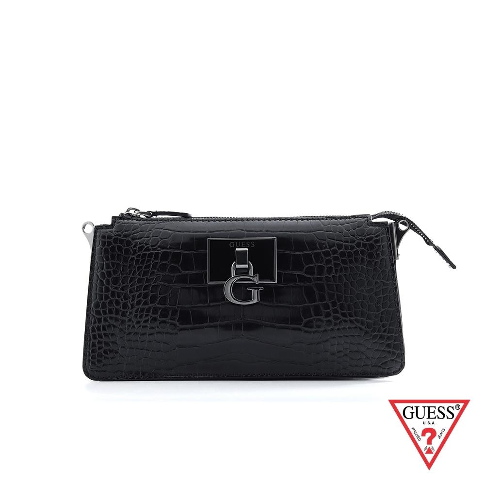 GUESS-女包-時尚漆皮鱷魚紋肩背包-黑 原價2890