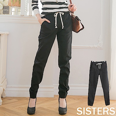 俐落曲線縮口牛仔褲長褲 S-3L SISTERS