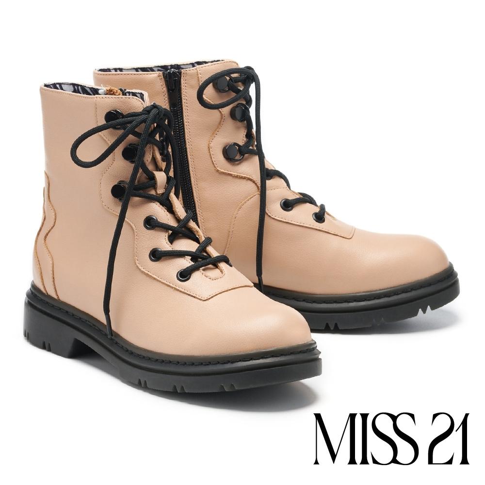 短靴 MISS 21 獨特曲線拼接設計厚底馬汀短靴-可可