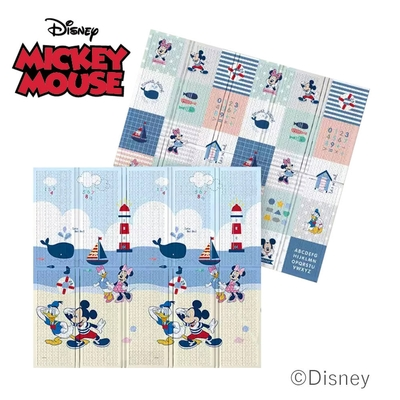 【Disney 迪士尼】攜帶型2CM加厚款摺疊遊戲墊- 雲漫沙灘+米奇樂園
