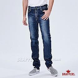 BRAPPERS 男款 高腰彈性直筒褲-藍