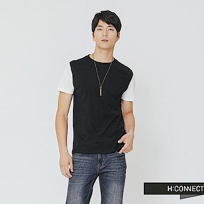 H:CONNECT 韓國品牌 男裝-後標語拼接上衣-黑