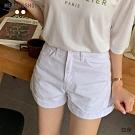 MERONGSHOP  衣櫃必備顯瘦斜紋反褶短褲-S.M.L(共二色)