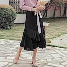 純色浪漫層次傘襬魚尾長裙-OB嚴選
