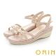 ORIN 金屬造型花邊點綴牛皮楔型 女 涼鞋 裸色 product thumbnail 1