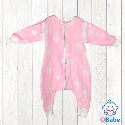 QBabe 全棉六層紗 連身拉鍊褲款防踢被(可拆袖)-粉色水母