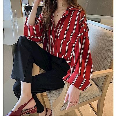 DABI 直播款韓版寬鬆慵懶條紋襯衫長袖上衣