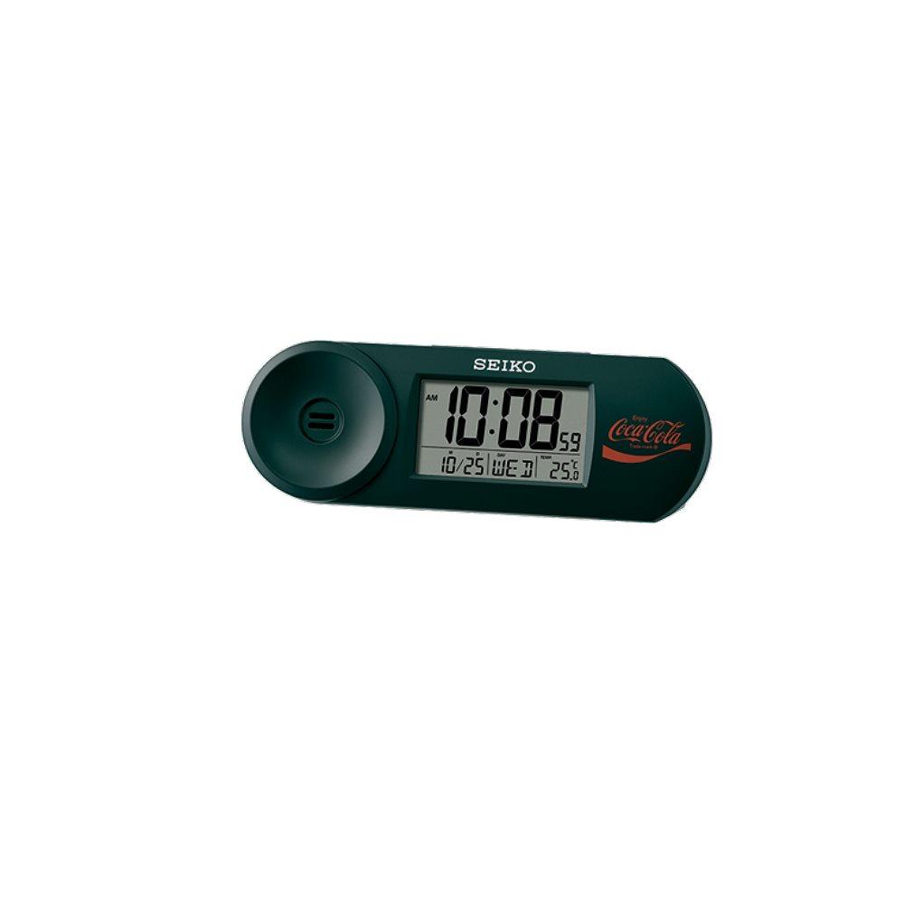 SEIKO 可口可樂聯名 鬧鐘 溫度/日曆 電子鐘(QHL902K)黑/14.4X5cm