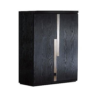 文創集 哈佛時尚2.7尺鐵刀紋二門鞋櫃/玄關櫃-81x39x105cm免組