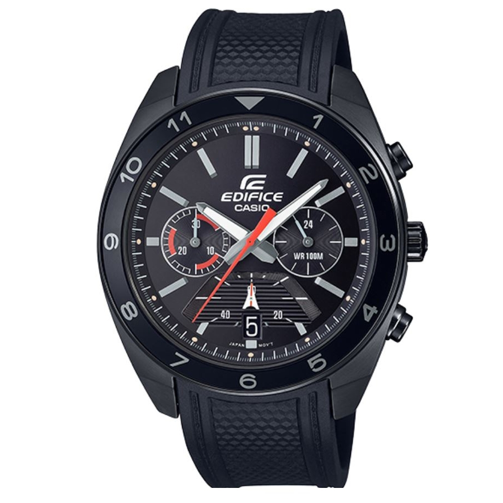 EDIFICE 高性能賽車風格極致黑腕錶(EFV-590PB-1A)/50.6mm