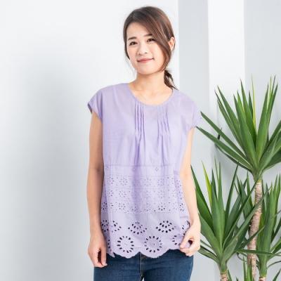 【白鵝buyer】浪漫布蕾絲包袖洞洞造型上衣_淡紫