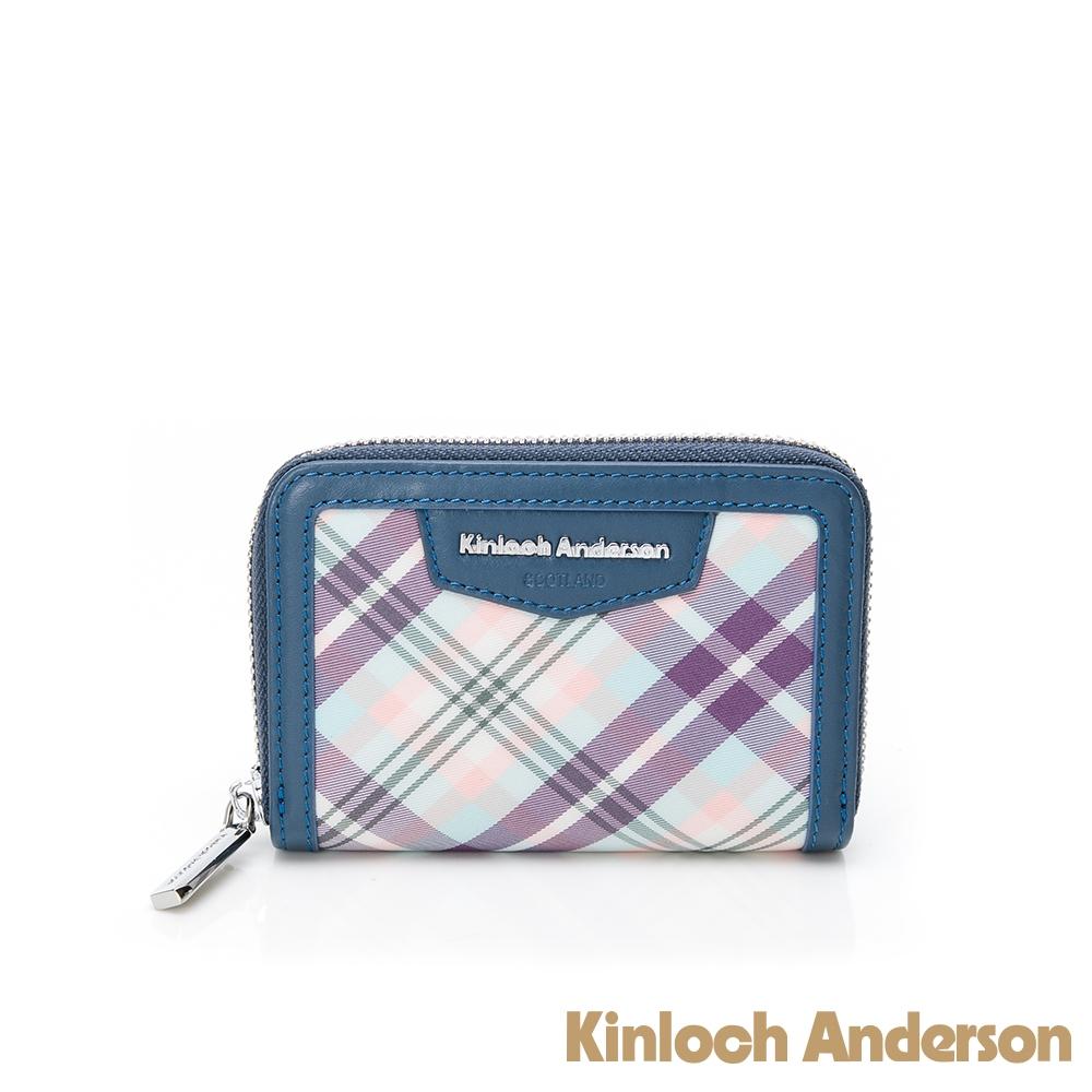 【金安德森】Tartan L型拉鍊零錢包-藍色