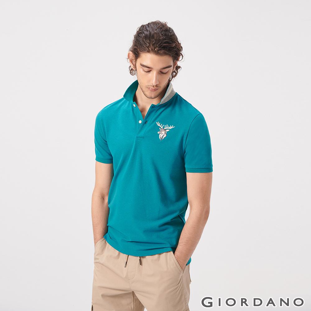 GIORDANO 男裝麋鹿漸層刺繡短袖POLO衫-45 雪花咬娟綠