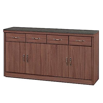 綠活居 明尼達時尚5.3尺黑岩石面餐櫃/收納櫃-160x41x84cm-免組