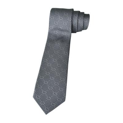 GUCCI雙G LOGO緹花蠶絲領帶(深灰x白點)