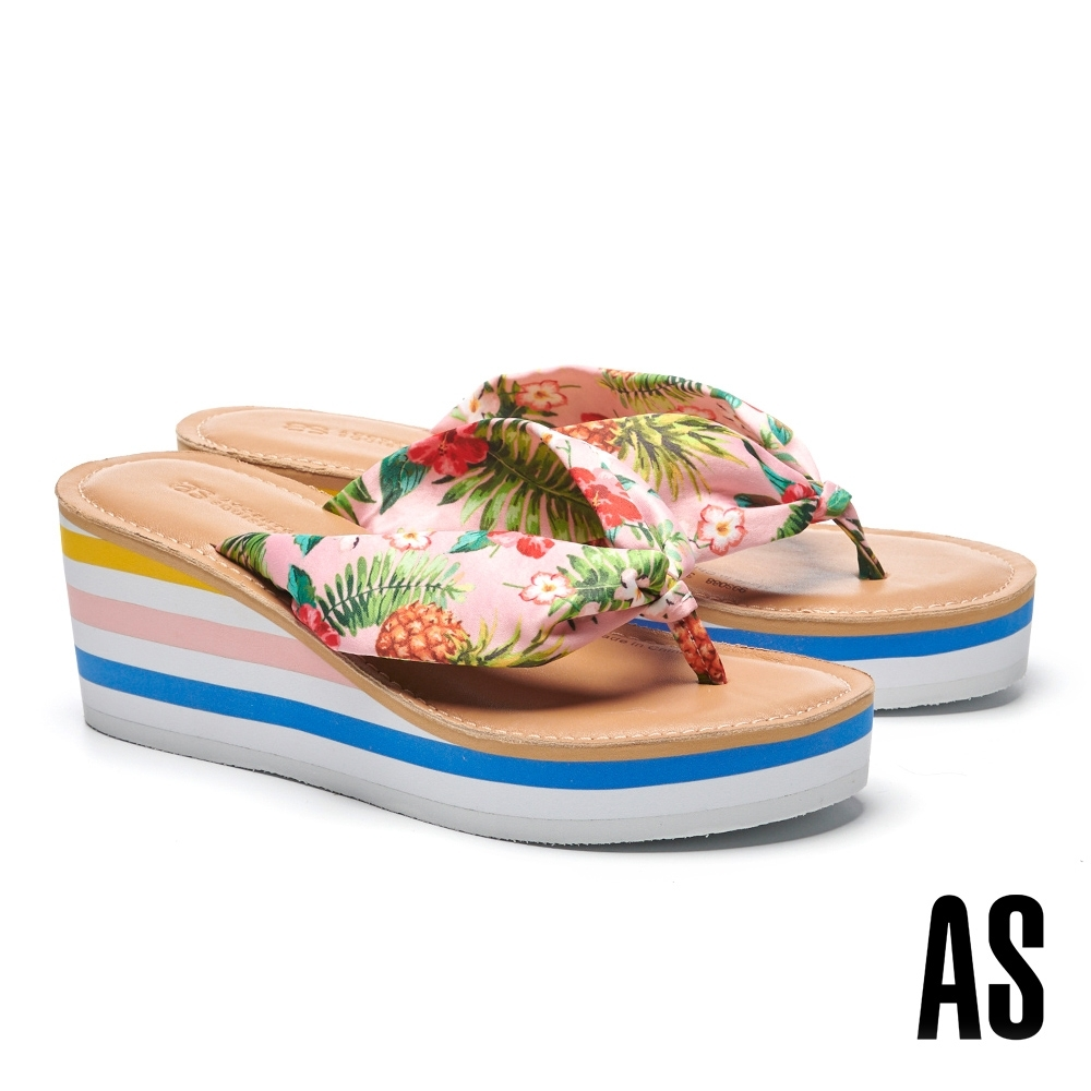 拖鞋 AS 熱帶風情花布造型楔型夾腳高跟拖鞋-粉