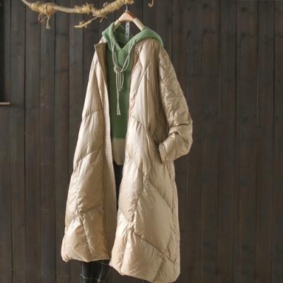 素色亮面棒球領羽絨服中長版寬鬆輕薄上衣外套-設計所在