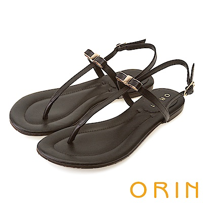 ORIN 細緻典雅T字牛皮夾腳平底 女 涼鞋 黑色