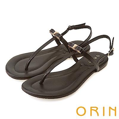 ORIN 夏日風情 細緻典雅T字牛皮夾腳涼鞋-黑色