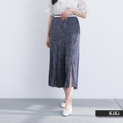 【KiKi】涼爽開衩印花-長褲(藍色/版型顯瘦)