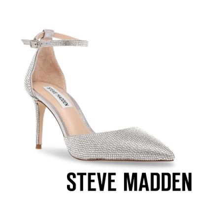 STEVE MADDEN-LINSEY-R 閃耀水鑽一字尖頭高跟涼鞋-銀色