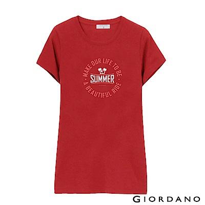 GIORDANO 女裝假期休閒印花T恤-51 高貴紅