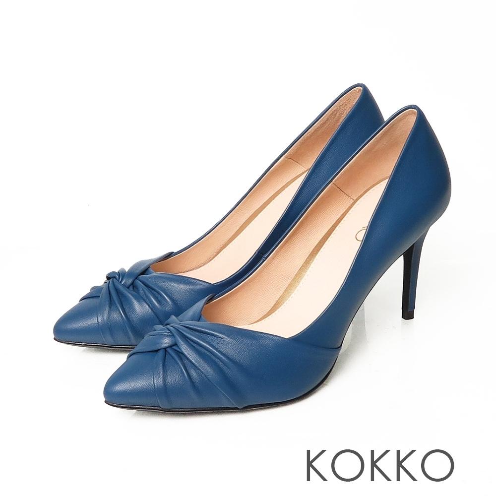 KOKKO極致迷人羊皮尖頭抓皺細高跟鞋經典藍