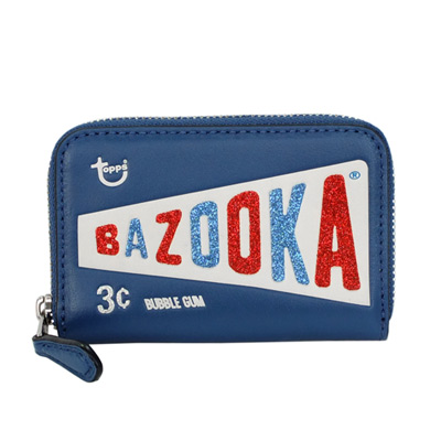 COACH美國懷舊bazooka泡泡糖真皮拉鍊卡夾零錢包