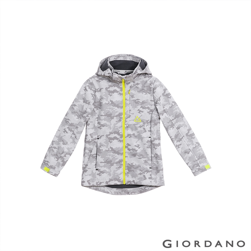 GIORDANO 童裝高機能可拆式連帽外套 - 93 迷彩白