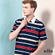 oillio歐洲貴族 男裝 短袖POLO衫 全棉彈力 襯衫領設計 質感條紋 藍色 product thumbnail 1