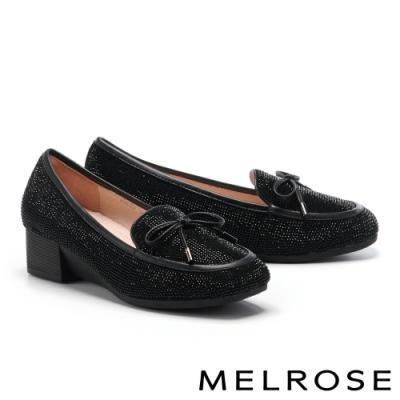 低跟鞋 MELROSE 奢華閃耀水鑽蝴蝶結造型全真皮低跟鞋-黑