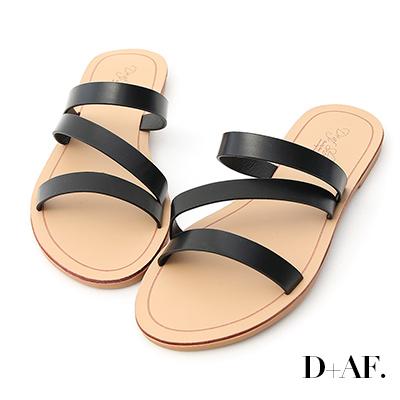 D+AF 自在氣息.三條帶平底涼拖鞋*黑