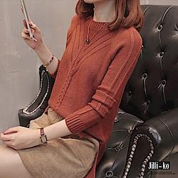 Jilli-ko Y字麻花寬鬆針織衫-橘/咖/卡