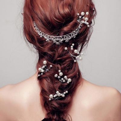 HERA 赫拉 新娘頭花甜美珍珠U型髮簪頭飾-2色