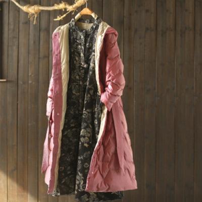 亮面針織拼接連帽繫帶羽絨服寬鬆中長版麵包服外套-設計所在