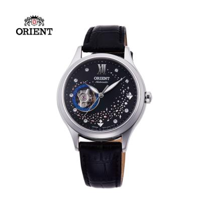 ORIENT東方錶HAPPY STREAM系列藍月奇蹟鏤空機械錶皮帶款RA-AG0019B