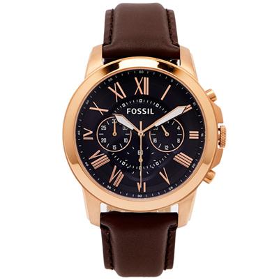 FOSSIL 羅馬優雅風計時的皮帶手錶(FS5068IE)-靛色面X咖啡色/44mm