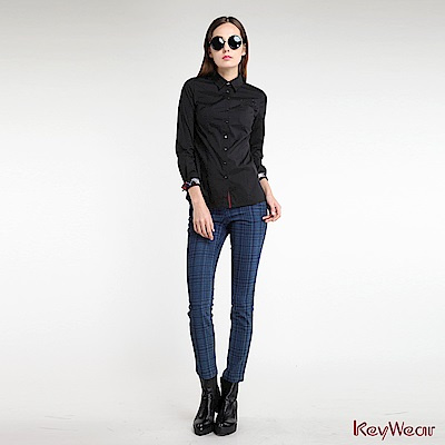 KeyWear奇威名品    英式帥氣麋鹿logo長袖襯衫-黑色