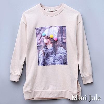 Mini Jule 大童 上衣 毛球人像貼布長版寬鬆長袖上衣(杏)