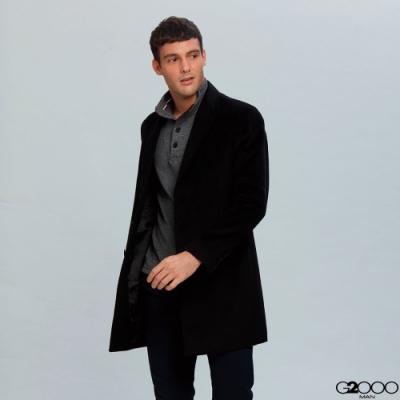 G2000長版羊毛素面大衣-黑色