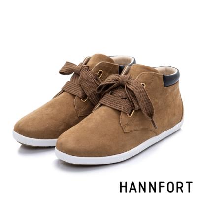 HANNFORT CALIFORNIA 麂皮寬版綁帶短靴-女-咖啡