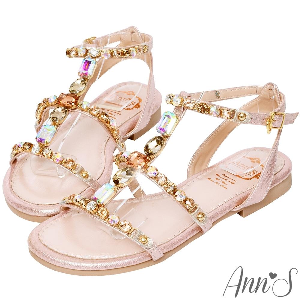 Ann'S會發光的那雙-漸層寶石粉色系工字平底涼鞋